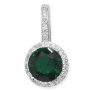 Sterling Silver Emerald and clear Cubic Zirconia Halo Pendant